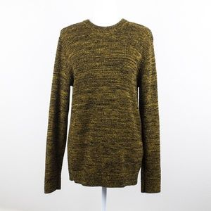 NWOT H&M Black and Yellow Marled Crew Neck Sweater